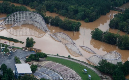 A roller coaster at Six Flags of Georgia Amusement Park is flooded on Tuesday, Sept. 22, 2009 in Austell, Ga. Several days of heavy rain has flooded parts of the Atlanta area. (AP Photo/John Bazemore)